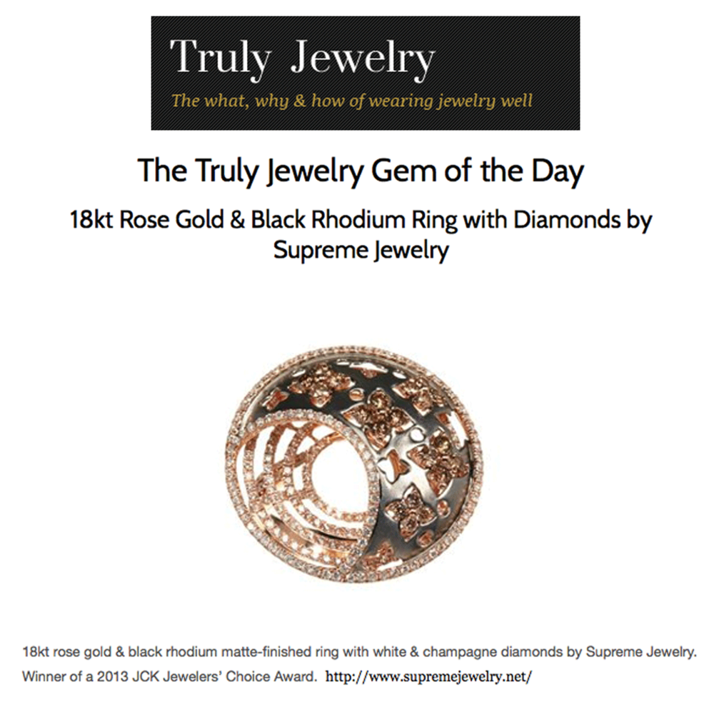 """Thanks to Truly Jewelry for featuring Supreme Jewelry's Rose Gold and Black Rhodium ring as their """"Gem of the Day""""!"""