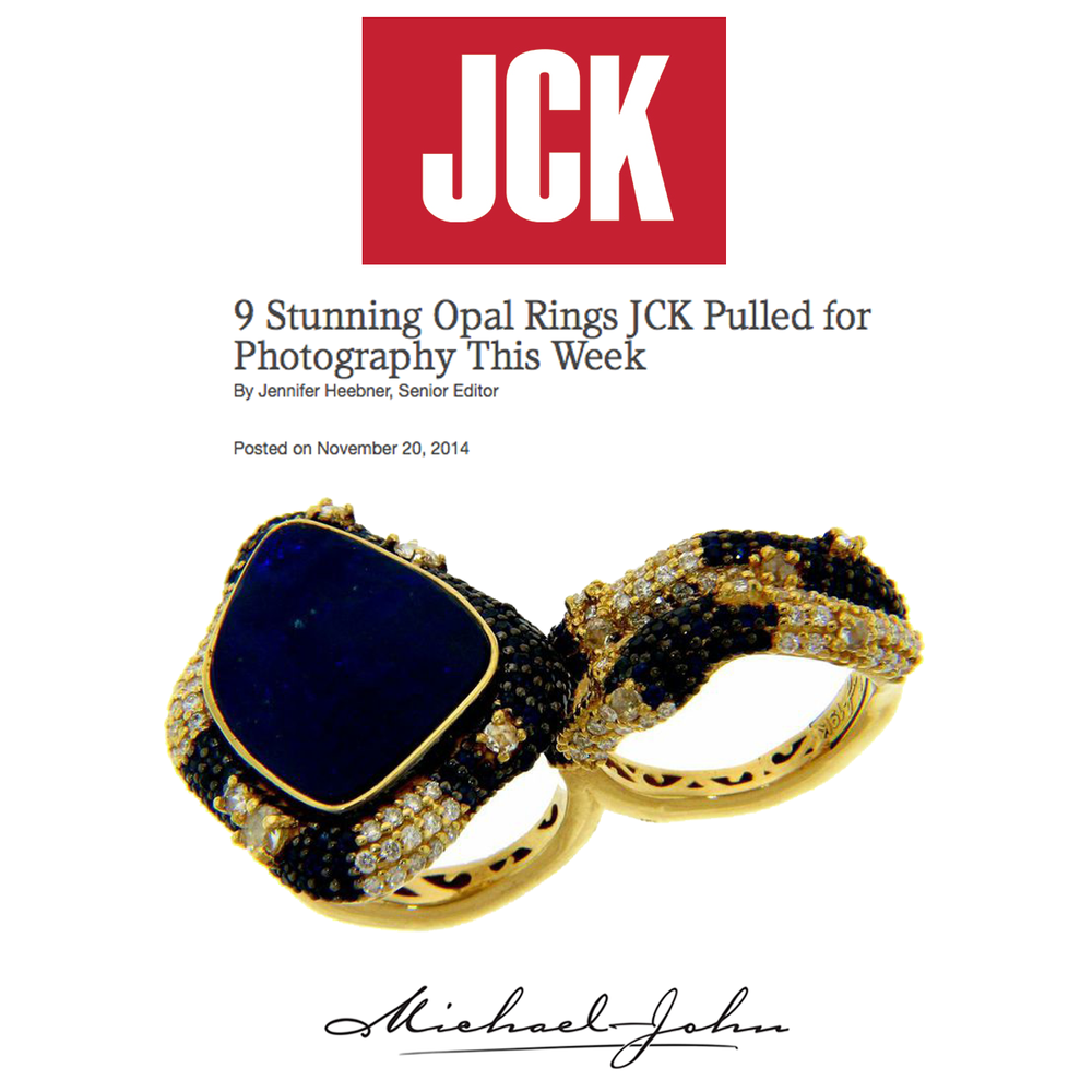 JCK loves Michael John Jewelry and Sylvie Collection! They featured Michael John's Portofino Opal ring (above), and aTanzanite Diamond ring and morganite pendant by Sylvie Collection.