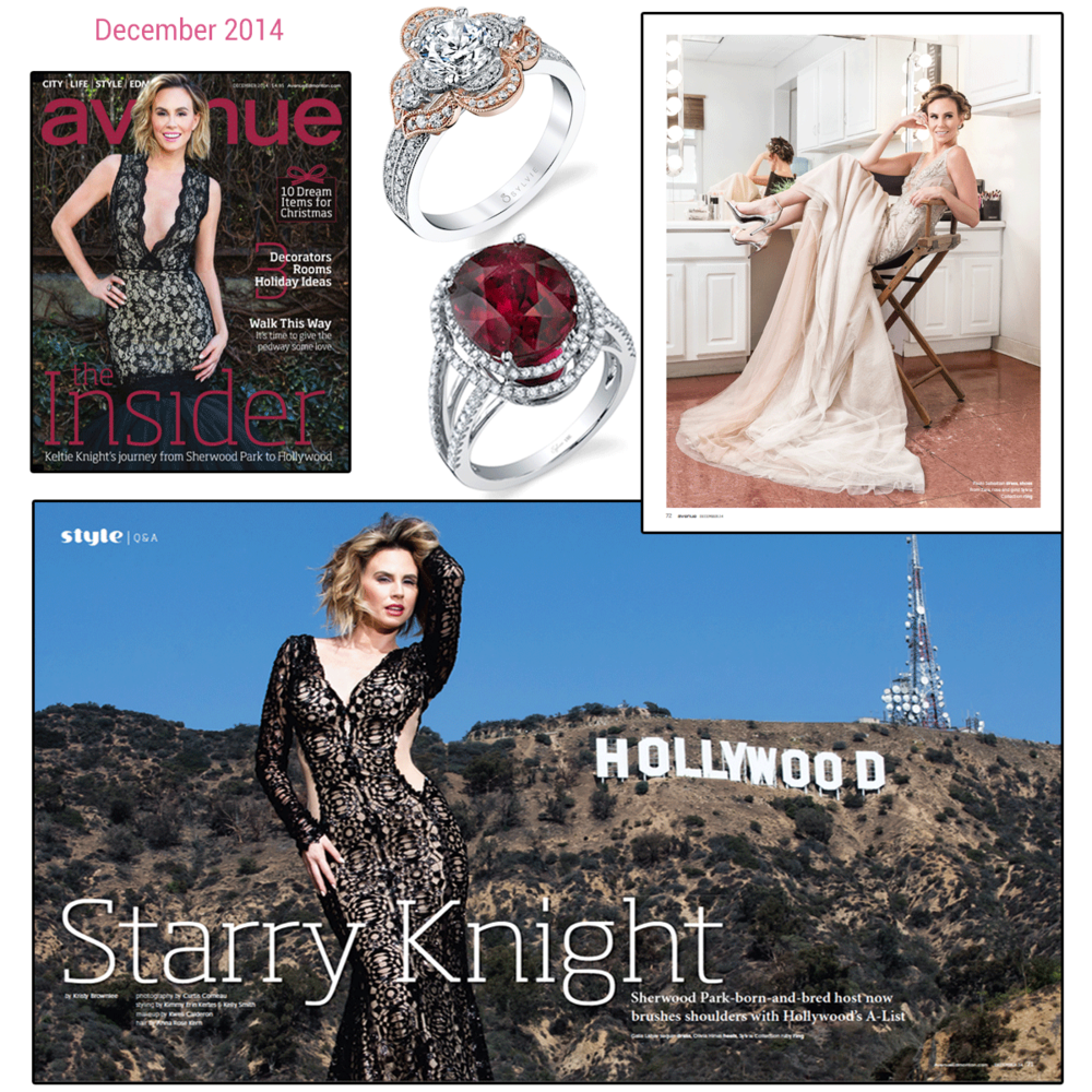 """TV personality and """"The Insider"""" host, Keltie Knight,looks absolutely stunning in the December issue of Avenue Magazine dripping in Sylvie Collection jewels (above and below)."""