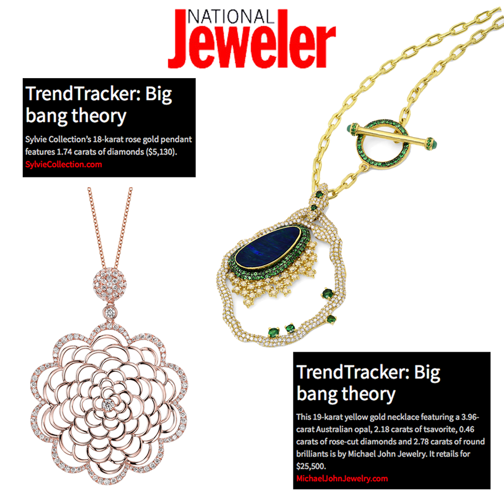 """Thanks National Jeweler for featuring Michael John Jewelry's and Sylvie Collection's pendants in the latest """"TrendTracker"""" article."""