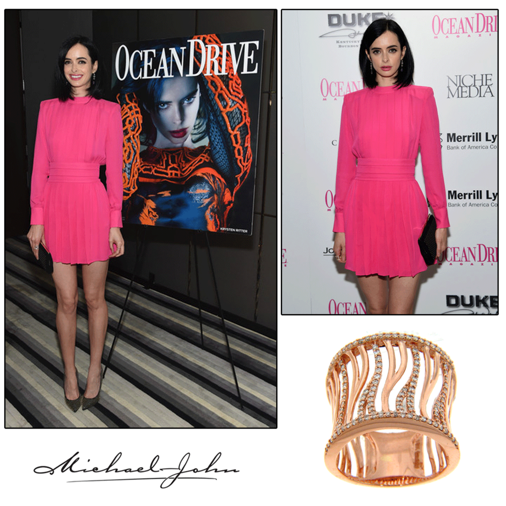 """Pretty in pink! Actress, Krysten Ritter was spotted wearing Michael John Jewelry's Rose Gold and Diamondring to Ocean Drive Magazine's cover launch, where shewas also featuredonInStyle Magazine's""""Best Dressed"""" list!"""