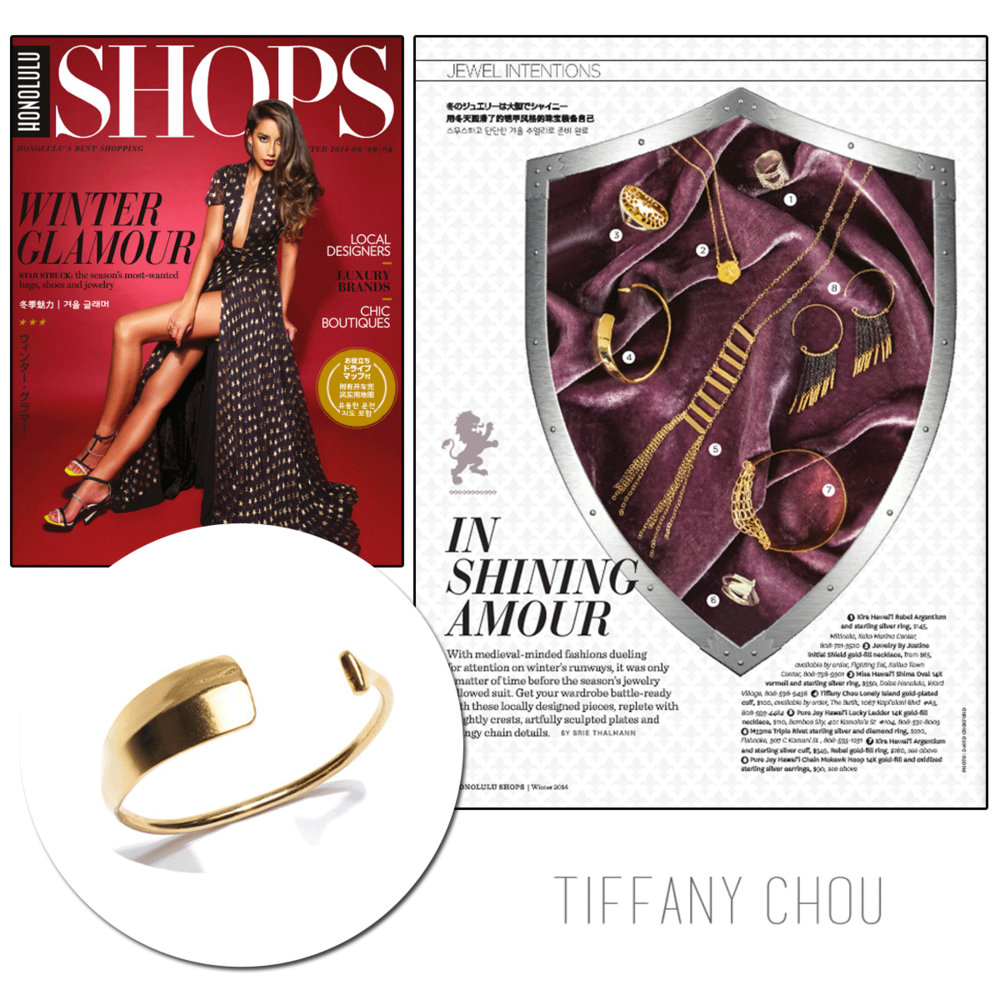 """Tis the season to shop in style! Tiffany Chou's 'Lonely Island"""" cuff is on our wish list! Thanks Honolulu Magazine for featuring itinthe """"Shops"""" edition!"""