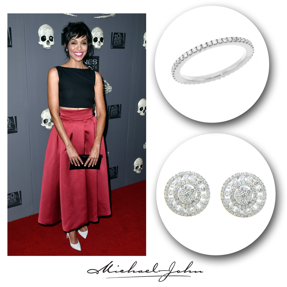 """Red hot on the red carpet! Actress, Tamara Taylor, of the hit show """"Bones"""", sparkled in Michael John Jewelry's Diamond stud earrings and ring."""