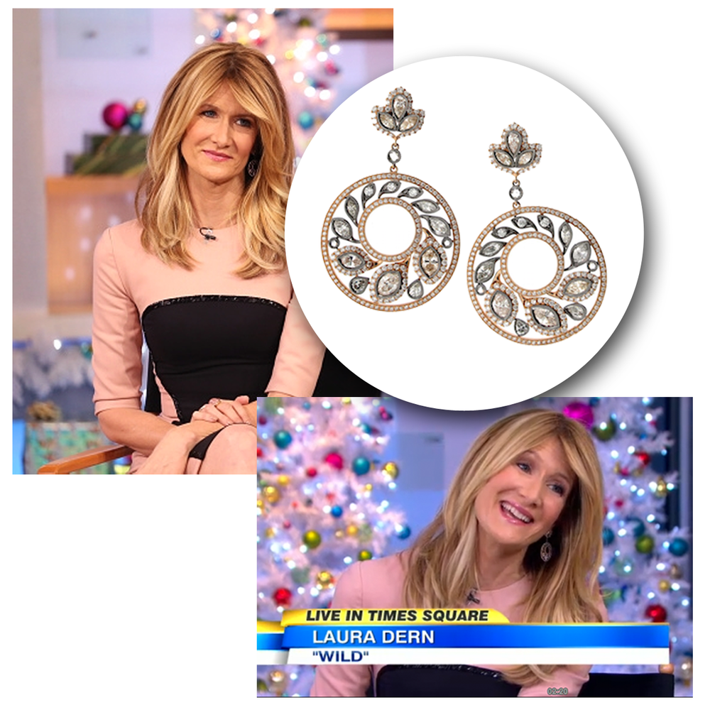 """The lovely, Laura Dern, was spotted in Supreme Jewelry earrings during an interview on Good Morning America (above), and Sylvie Collection jewels during Variety's screening of """"Wild"""" (below)."""