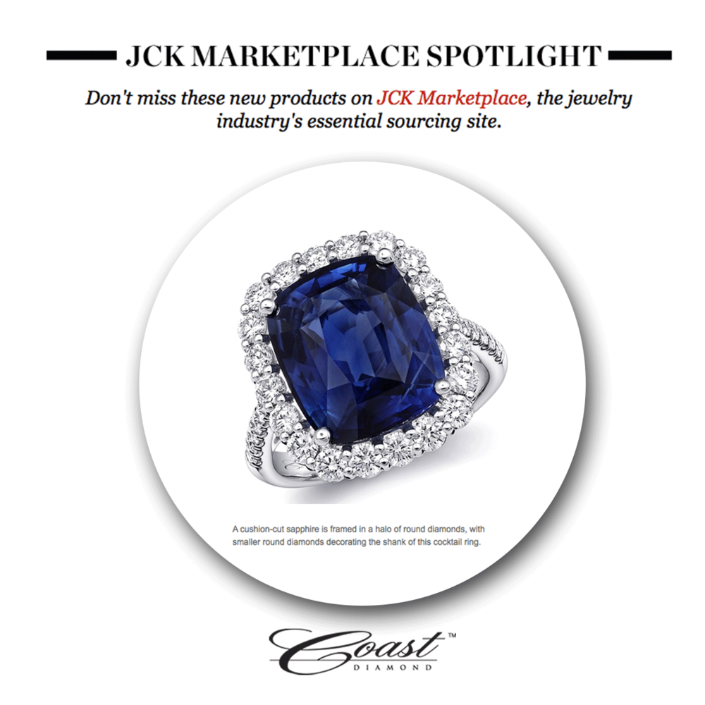 A Coast Diamond Sapphire Diamond ring (above)and Supreme Jewelry's teardrop earrings took the spotlight in JCK Marketplace's newsletter (below).