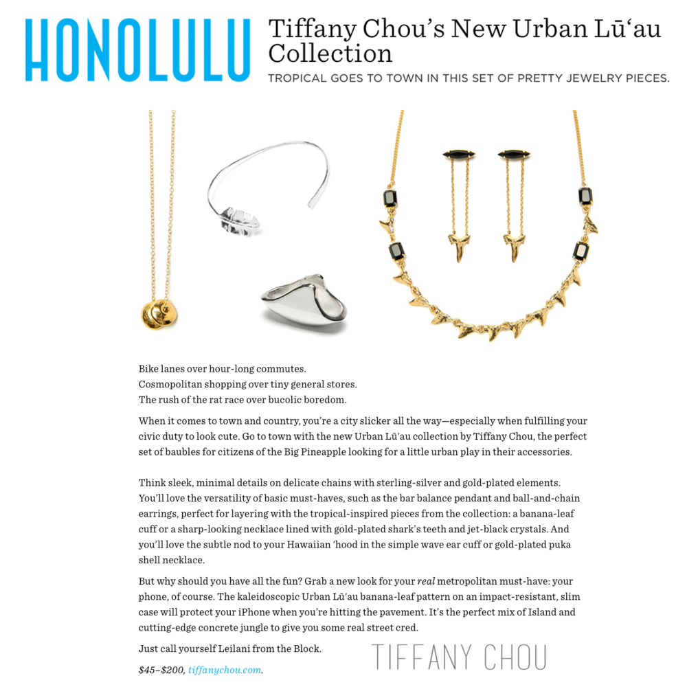We're in love with Tiffany Chou's new Urban Luau Collection! Simply chic and dreaming of endless summers! Thanks Honolulu Magazine for sharing!