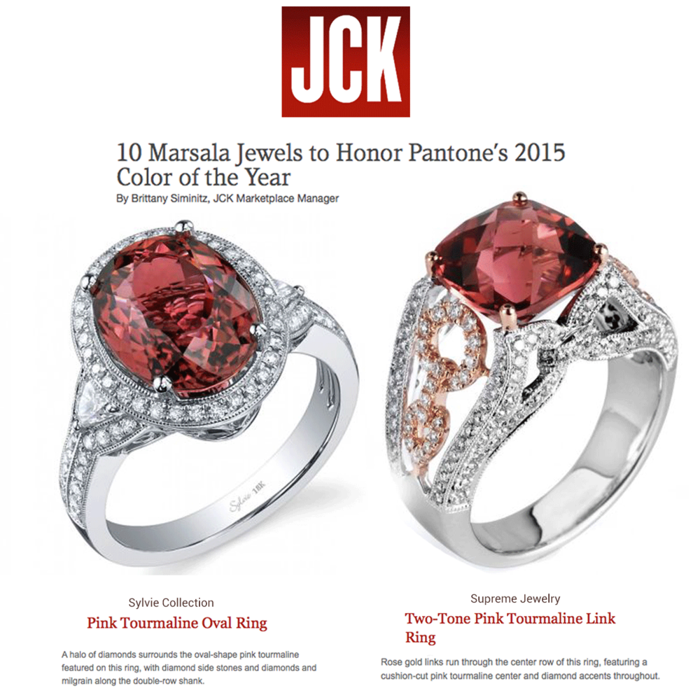 """We're lovingPantone's """"Color of the Year"""" for 2015!Especially gorgeous Marsala colored Diamond rings! Thanks JCK for featuring Sylvie Collection (left) and Supreme Jewelry (right)."""