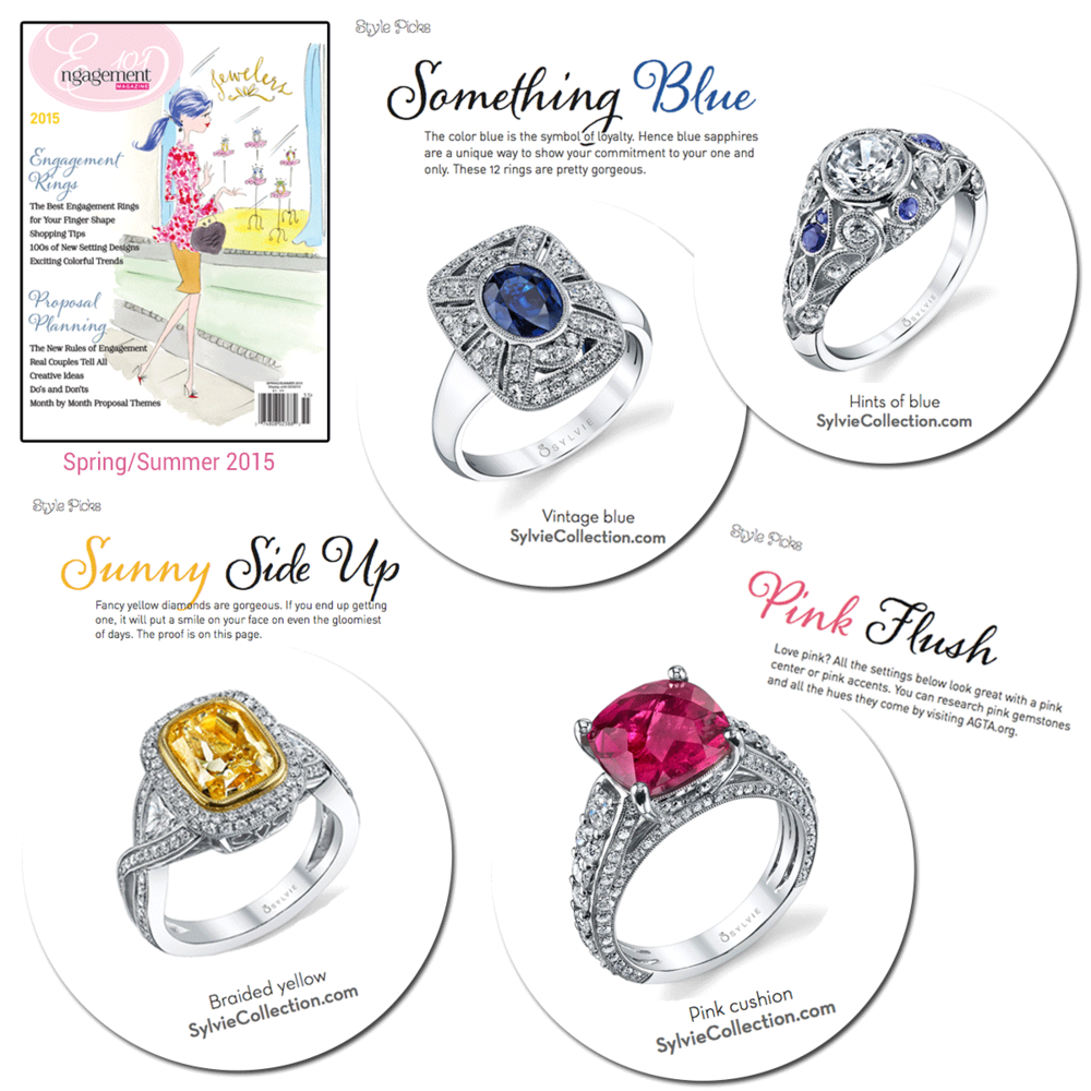 We can't choose our favorite colored engagement ring by Sylvie Collection - we want them all!
