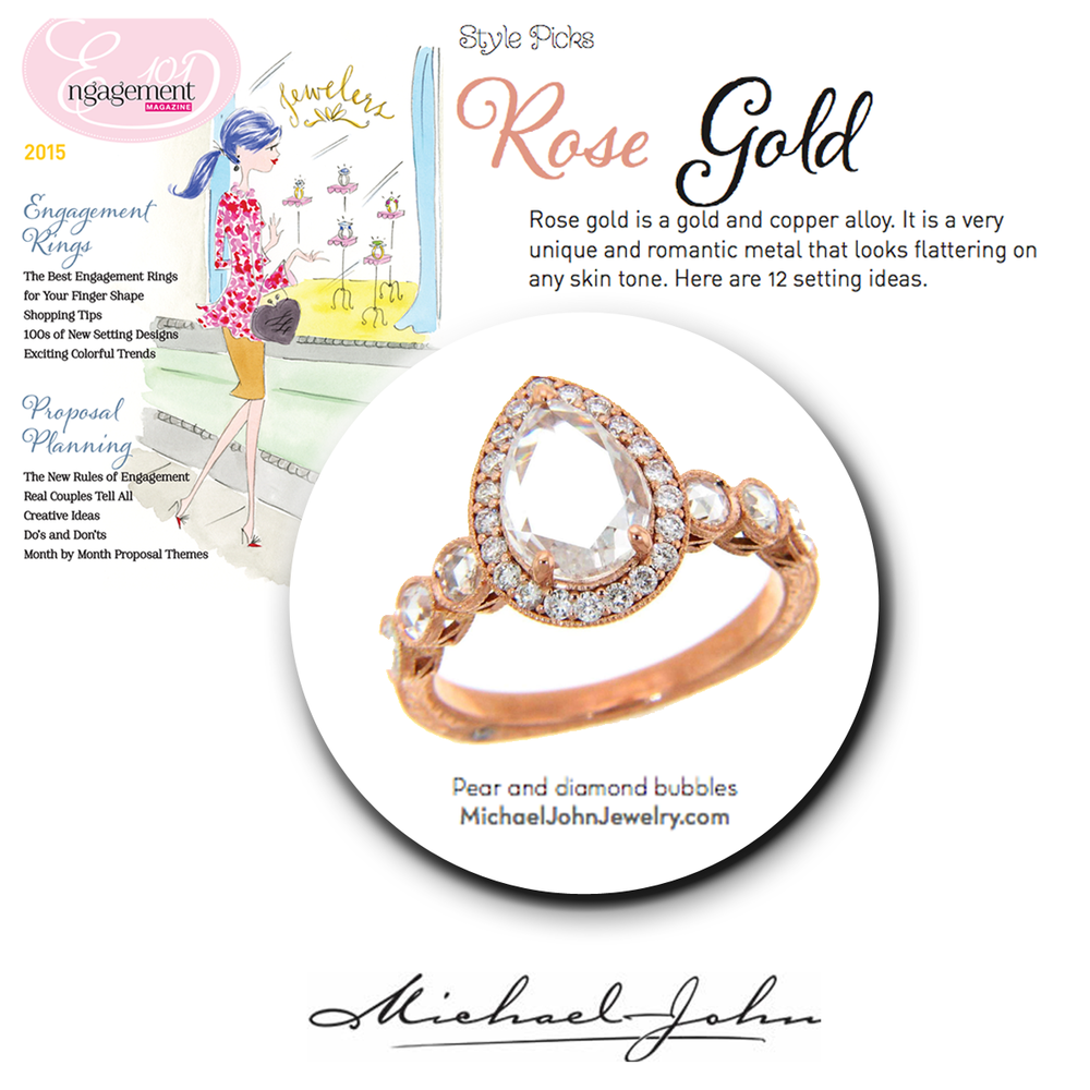 A Rose Gold engagement ring is unique and romantic. Check out this ring by Michael John Jewelry!