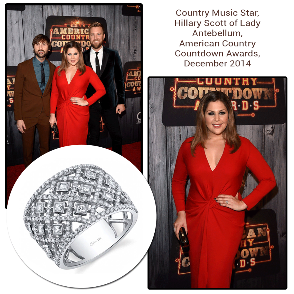 Lady in red! Hillary Scottof Lady Antebellum looked exquisite at the American Country Countdown Awards wearing a Michael John Jewelry ring!