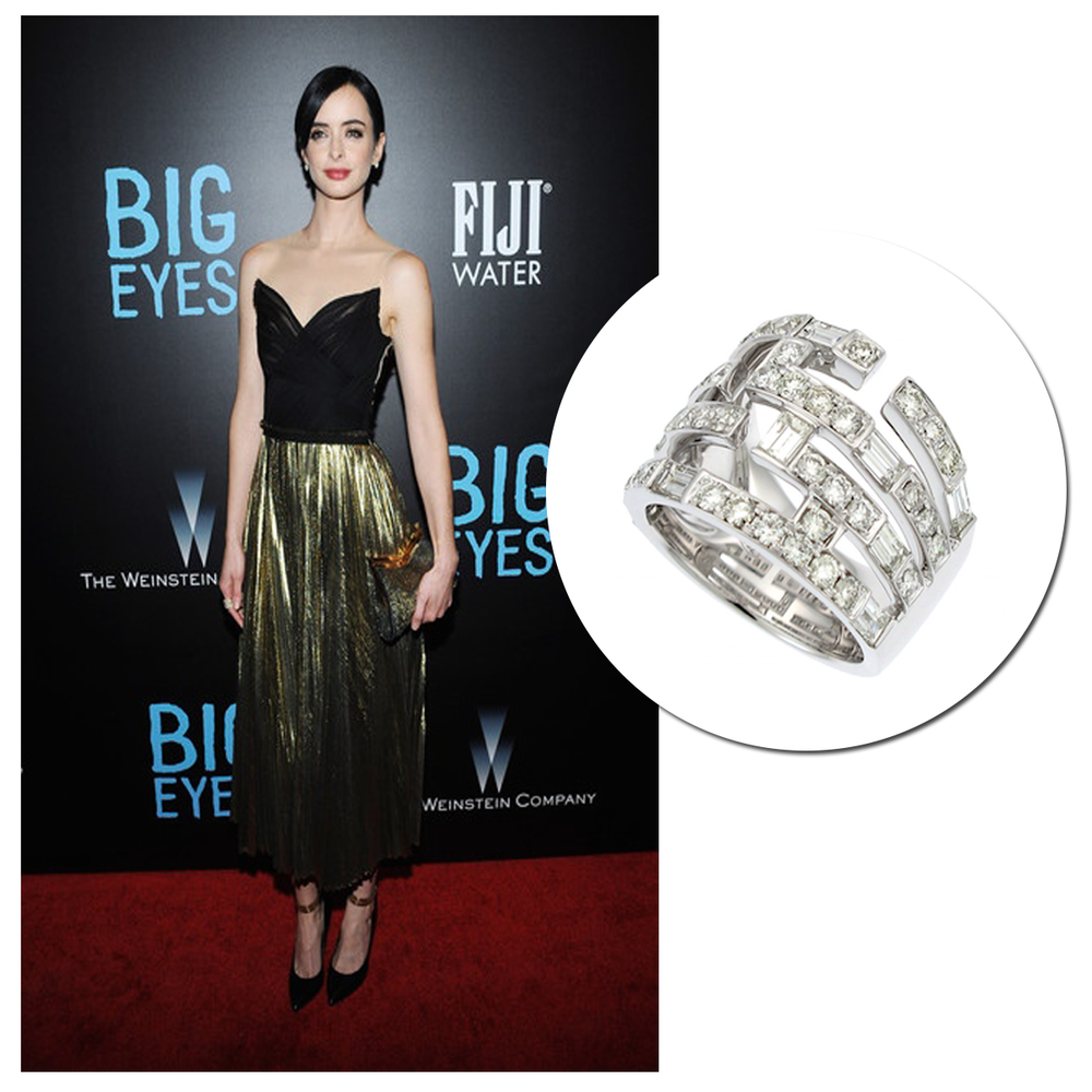 """Red carpet stunner! Actress, Krysten Ritter, looked fabulous on the red carpet at the premiere of her new film, """"Big Eyes,"""" wearing a Supreme JewelryWhite Gold Diamond ring!"""