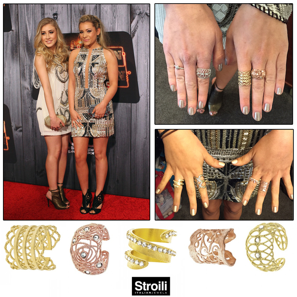Popular country music duo, Maddie & Tae, sparkled on the red carpet at the American Country Countdown Awards, dripping in Strolli jewels (above), Sylvie Collection (below), and Michael John Jewelry (below).