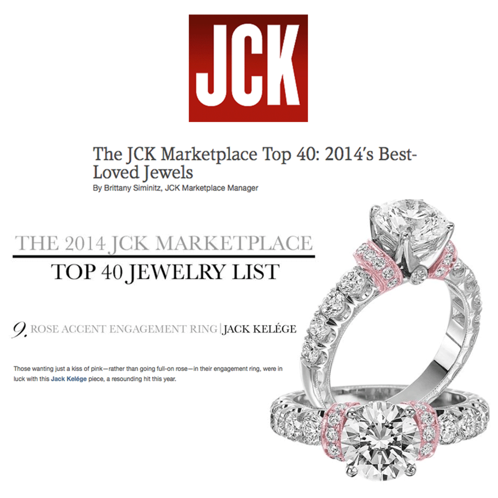 """Amazing! Jack Kelege's rose accented engagement ring ranks number nine on JCK Marketplace's """"Top 40 Jewelry List""""!"""