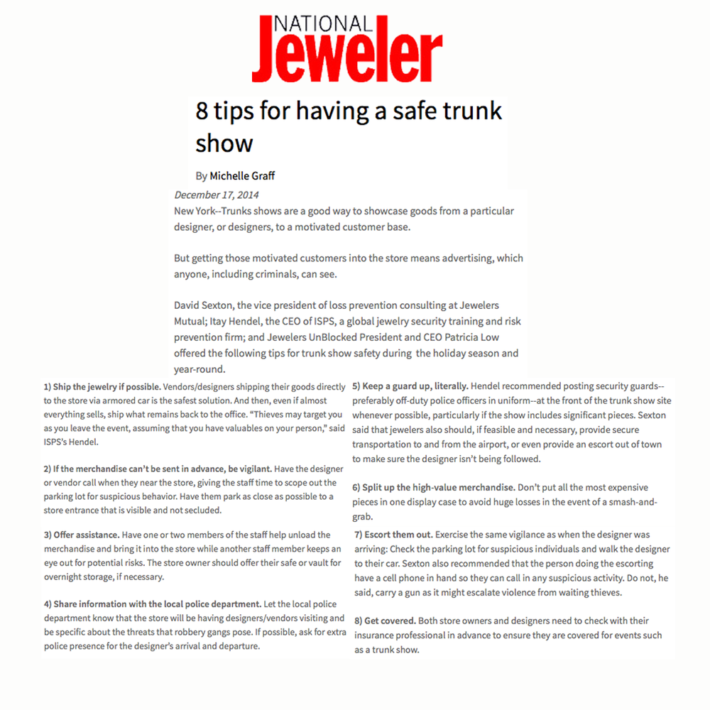 """Be sure to check out Jeweler's unBLOCKed's """"Trunk Show Safety Tips"""" on National Jeweler!"""