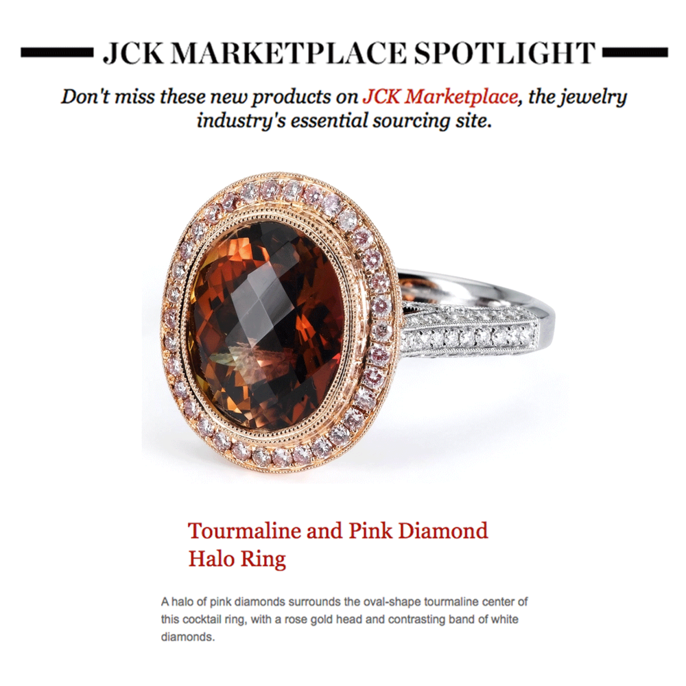 Jewelry of the Day: Supreme Jewelry'sTourmaline and Pink Diamond ring featured in JCK Magazine's newsletter this week!