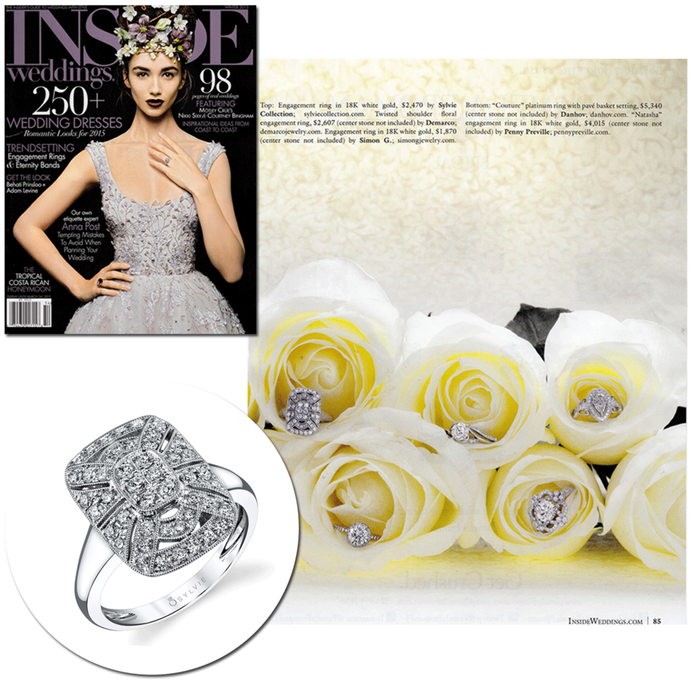 The bigger, the better! Check out the stunning White Gold diamond rings fromSylvie Collection &Jack Kelege(below) from theWinter 2015 edition ofInside Weddings.