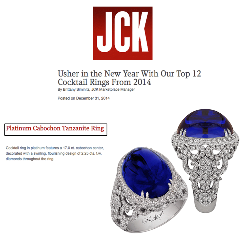 Beaming in blue-it's theway todo! Check out Jack Kelege's stunning cocktail ring featured in JCK Marketplace.