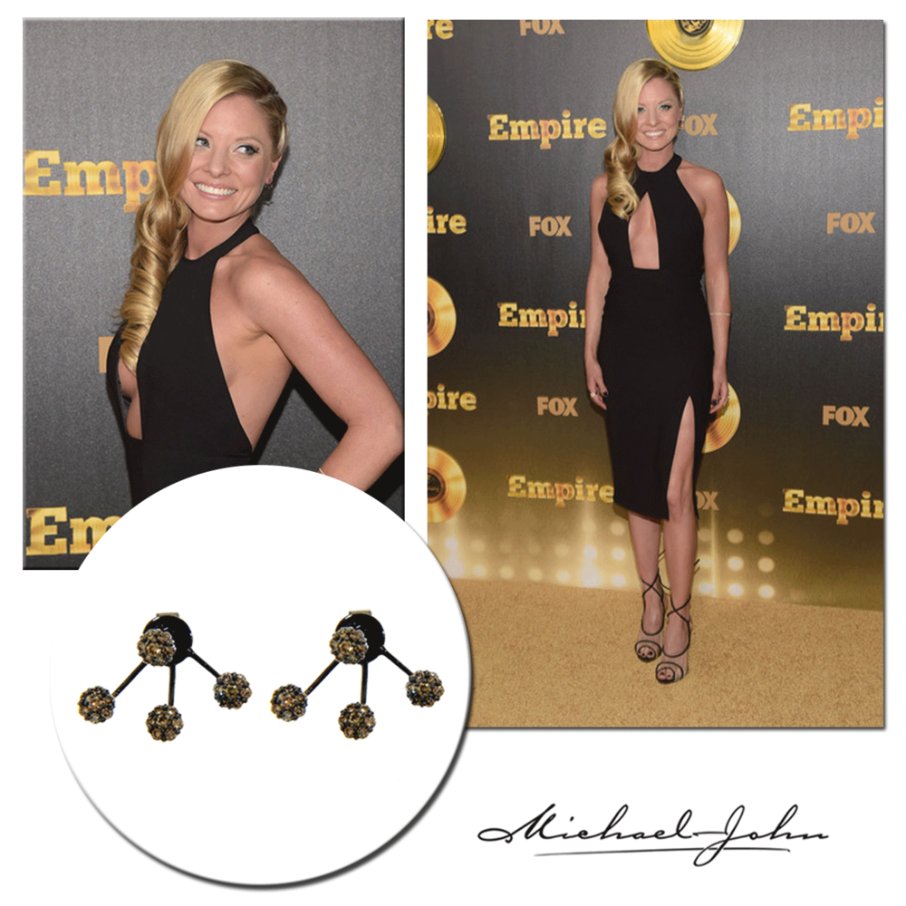 "What a stunner! Actress, Kaitlin Doubleday rocks Michael John Jewelry's gorgeous black gold earrings to the premiere of her new show, ""Empire."""