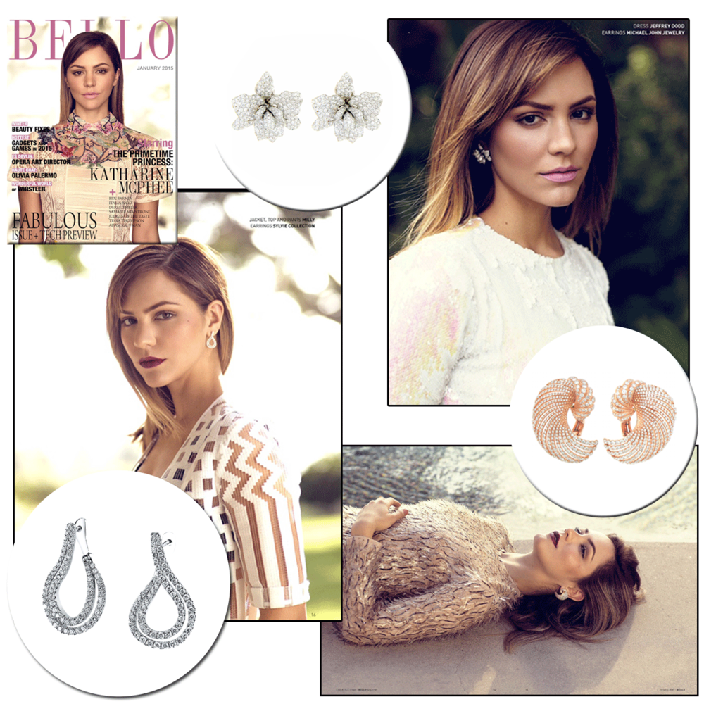 Glamour queen, Katharine McPhee, looks absolutely dazzling in the January 2015 edition of Bello Magazine wearing diamond earrings from: Sylvie Collection, Supreme Jewelry and Michael John Jewelry.