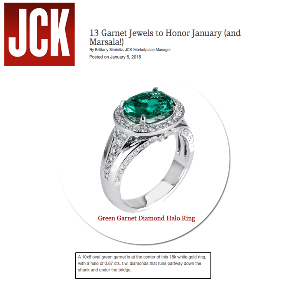 Glamorous in green! Thank you JCK Marketplace for featuring Supreme Jewelry's sparkling diamond ring as one of thirteen ways to honor the month of January.