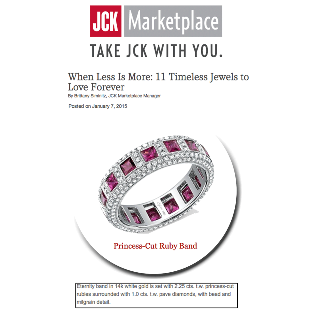 Glittering and glamorous! Thank you JCK Marketplace for featuring a lovely princess-cut band from Sylvie Collection.