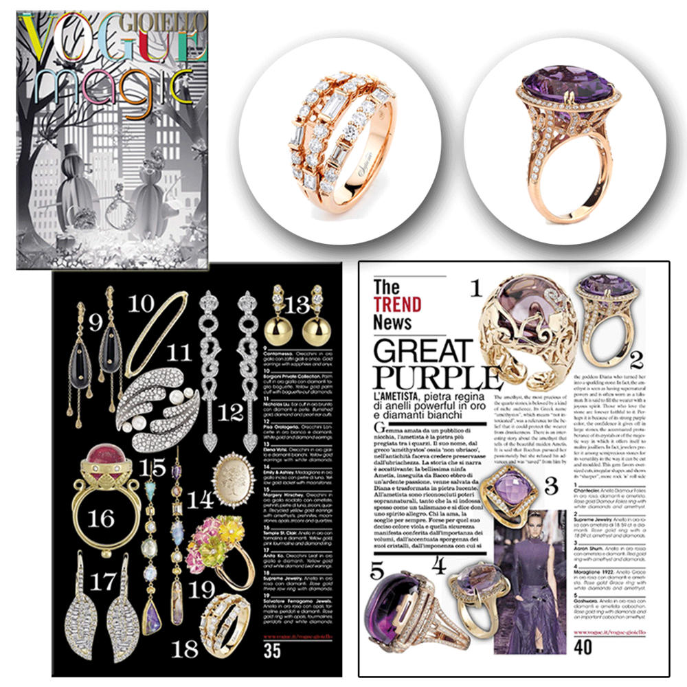 Big and bold! These gorgeous Supreme Jewelry rings were featured in Vogue Gioiello's January 2015 issue.