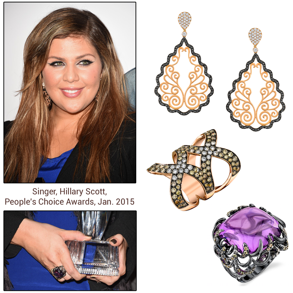 Hillary Scott of Lady Antebellum shines bright like a diamond in Sylvie Collection cocktail rings with matching earrings.