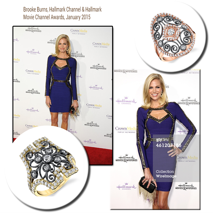 Radiantly smiling, Brooke Burns, looks stunning at the Hallmark Channel & Hallmark Movie Channel Awards in Sylvie Collection diamond rings.