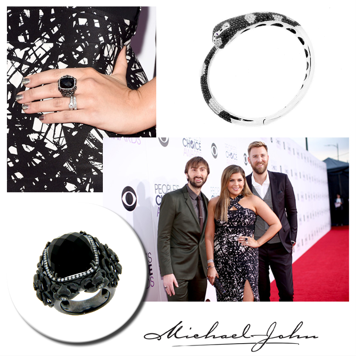 A little accessorizing never hurt anybody! Hillary Scott of Lady Antebellum glistens in a Michael John Jewelry ring and bracelet at the 41st Annual People's Choice Awards.