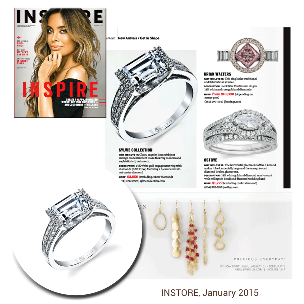 East or west, diamonds are the best! Check out Sylvie Collection's east-west engagement ring in INSTORE magazine.