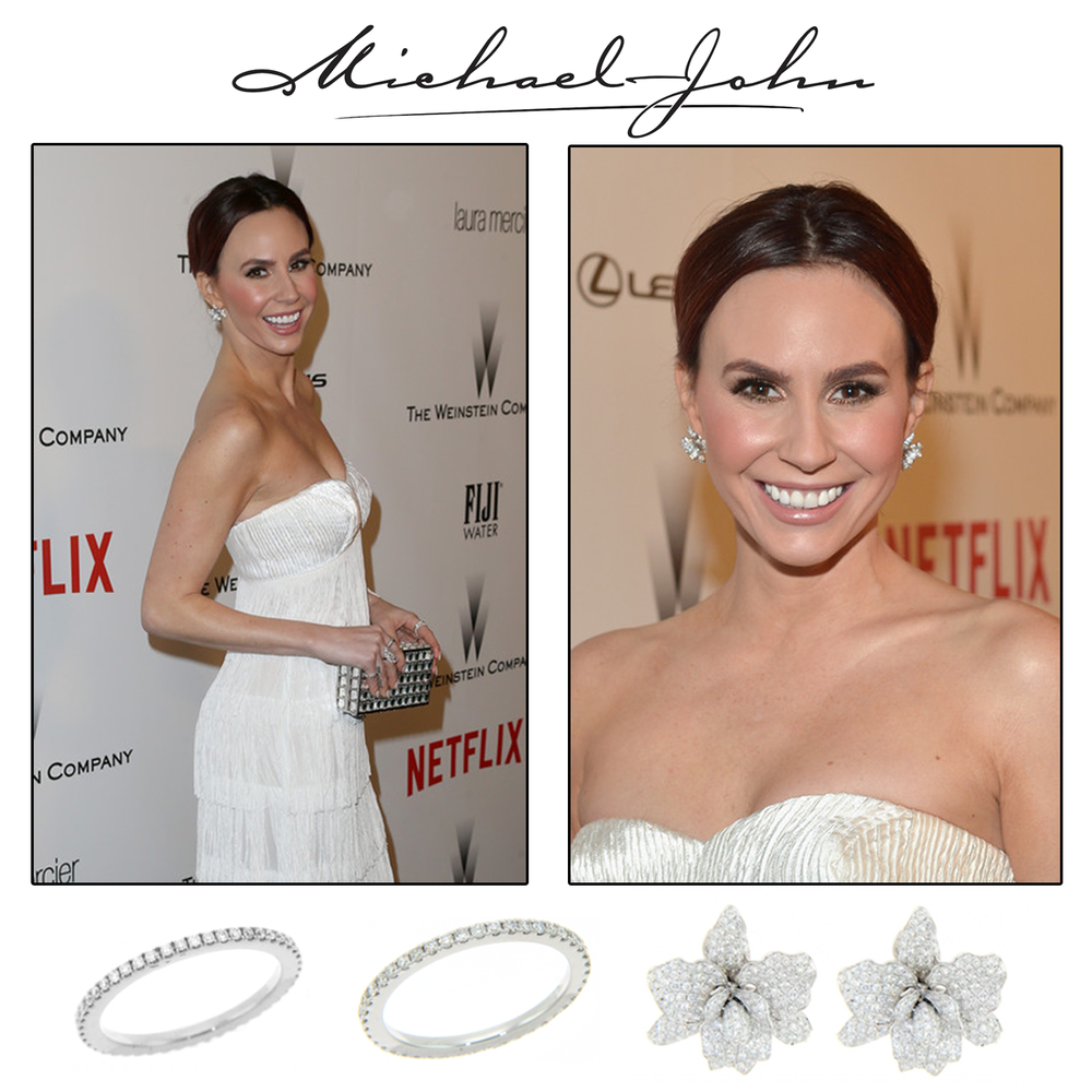 Wondrous in white, Keltie Knight glistened on the red carpet in Michael John Jewelry's diamond rings and earrings at the 2015 Golden Globe Awards.