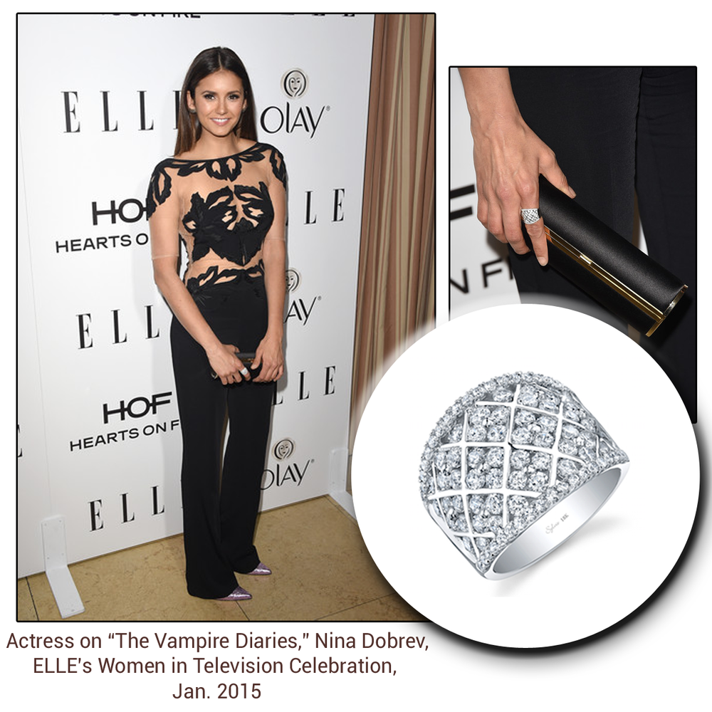 "Actress of ""The Vampire Diaries,"" Nina Dobrev, sparkles at the ELLE's Women in Television Celebration in a gorgeous Sylvie Collection diamond ring!"
