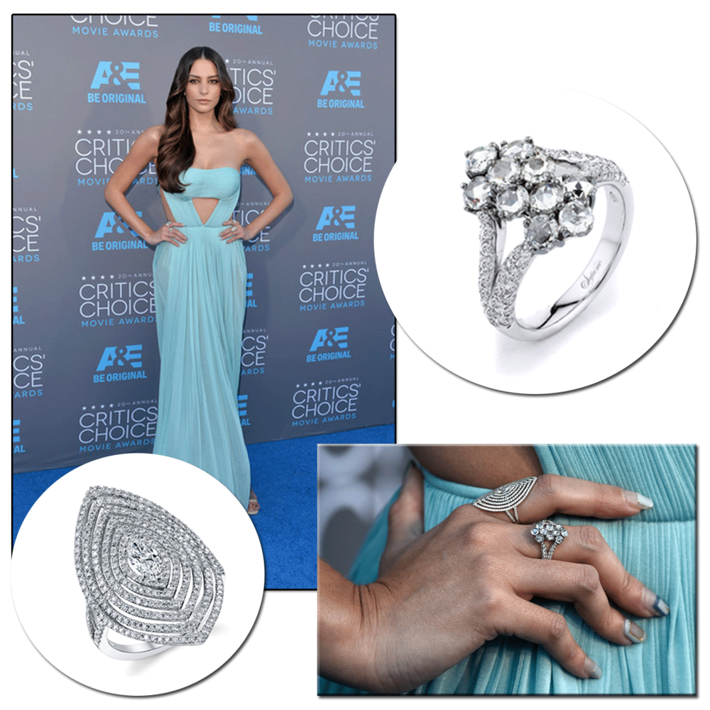 A true beauty, Genesis Rodriguez sparkled in Supreme Jewelry & Sylvie Collection diamond rings at the 2015 Critics' Choice Awards.