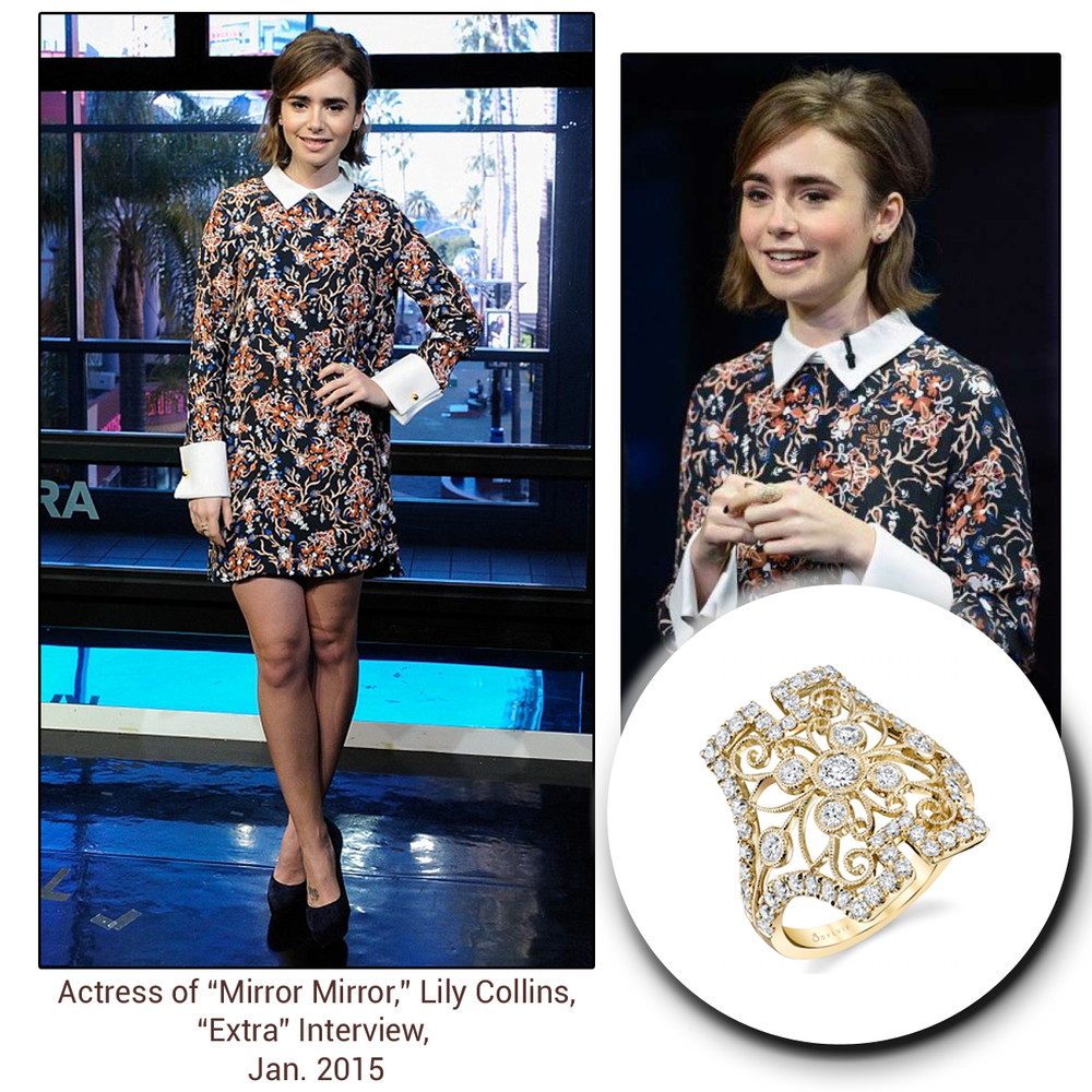 "Lily Collins, actress of ""Mirror Mirror,"" flaunted a beautiful, diamond Sylvie Collection ring at her ""Extra"" Interview."