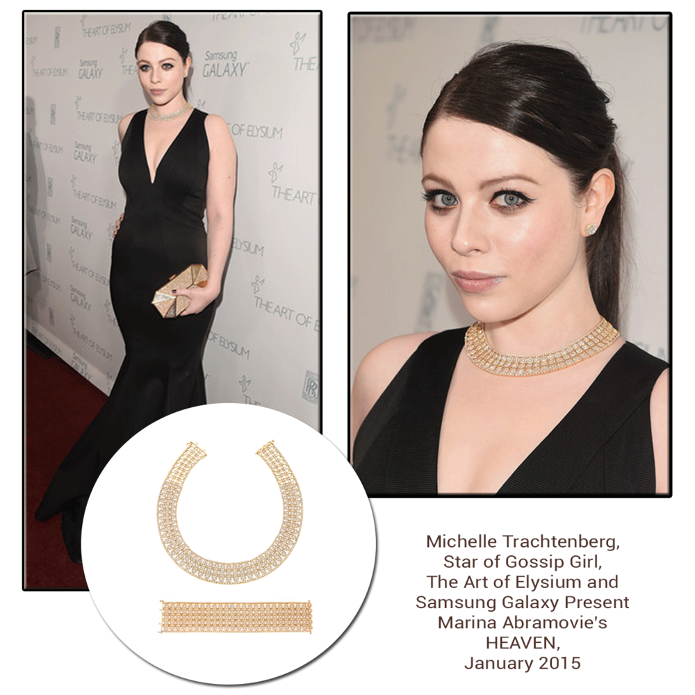 "Michelle Trachtenberg, Star of ""Gossip Girl"", makes a statement in her Sylvie Collection necklace and bracelet!"