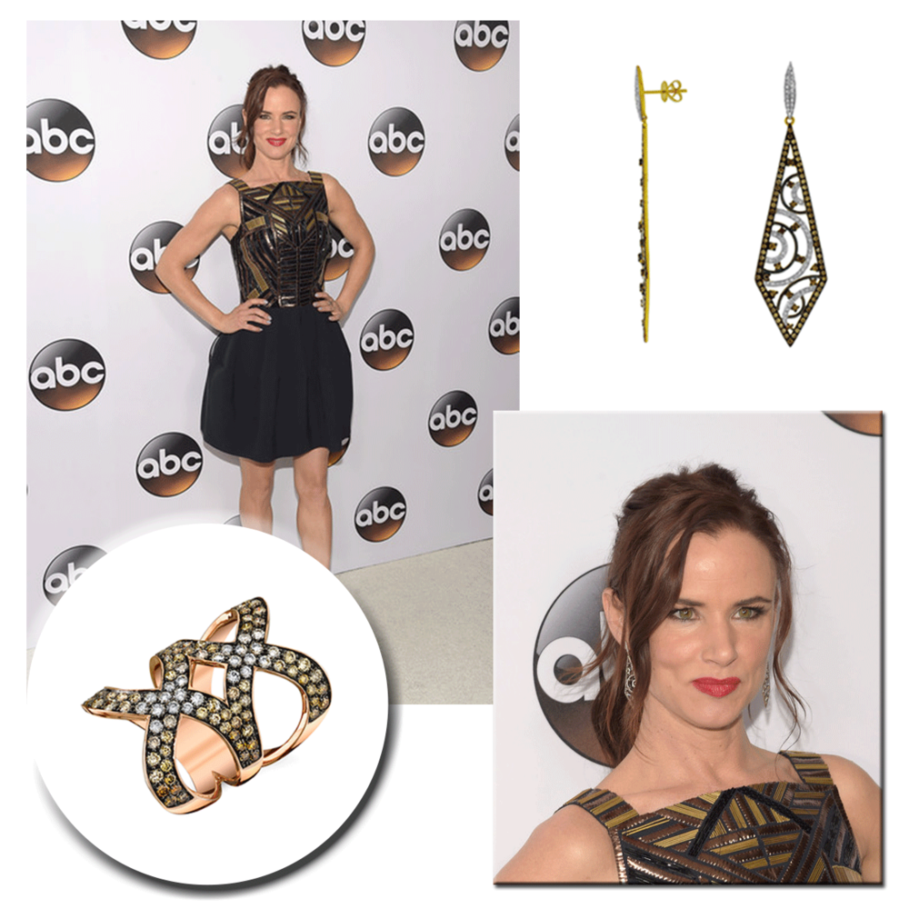 Bold and beautiful, Juliette Lewis glistens in a Sylvie Collection ring & Royal Jewelry earrings at the Disney and ABC TCA Winter Press Tour.