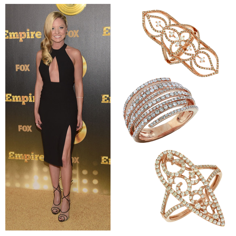 The blonde & beautiful Kaitlin Doubleday glitters on the red carpet in three one-of-a-kind Royal Jewelry diamond rings.