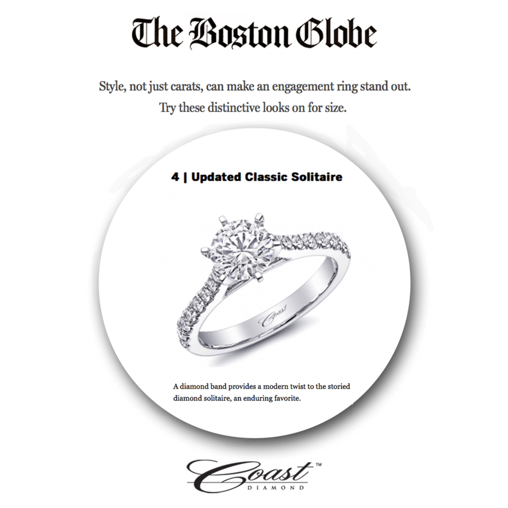 Never go wrong with a classic! Thank you Boston Globe for featuring Coast Diamond as one of the six engagement ring trends.