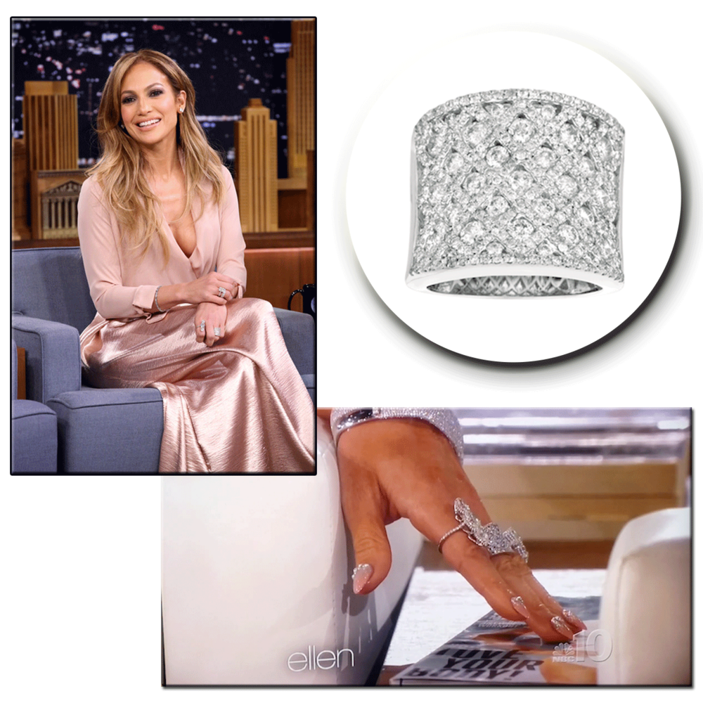 "Simply stunning! Actress, Jennifer Lopez glitters on ""Ellen"" & ""The Tonight Show with Jimmy Fallon,"" in her Royal Jewelry diamond ring."