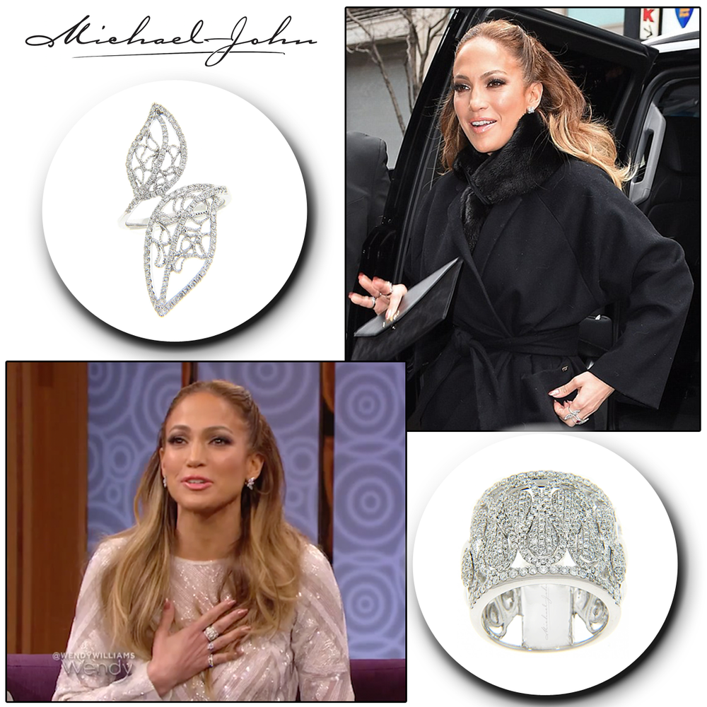 "As beautiful as can be! Jennifer Lopez, actress of upcoming movie, ""The Boy Next Door,"" glows glamorously in her Michael John Jewelry & Sylvie Collection (below) cocktail diamond rings."