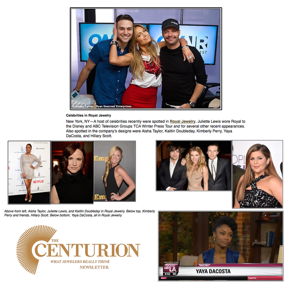 Tremendous! Thank you The Centurion Newsletter for showcasing Royal Jewelry, as their stunning jewelry was featured on a number of actresses.