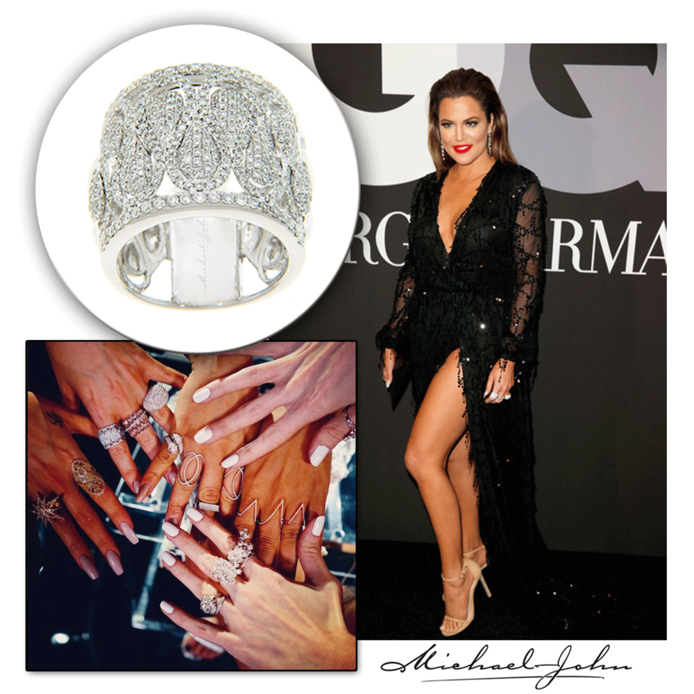 Fashion is an art, and Khloe Kardashian is the canvas! How dazzling does she look in a Michael John Jewelry white gold diamond ring at the Meek Mill Official Grammy Party?