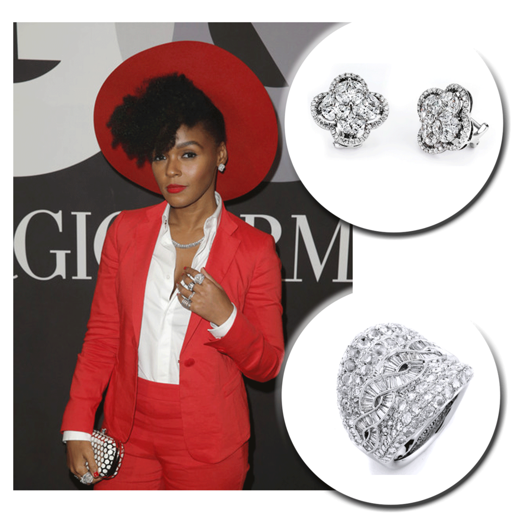 A red lip speaks a thousand words! Janelle Monae sparkles at various Grammy Award events in Sylvie Collection (above), Supreme Jewelry, and Royal Jewelry (below) diamond pieces.