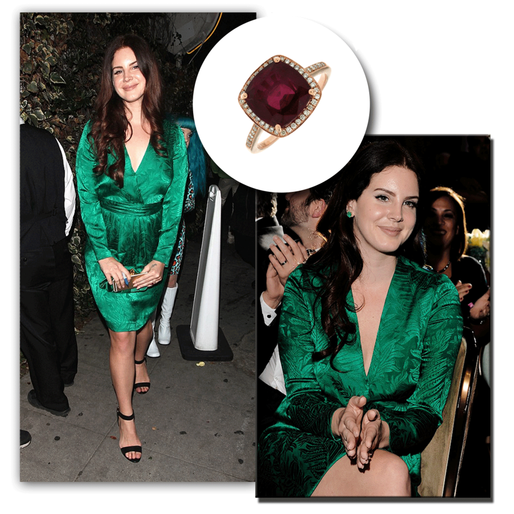 Glamorous in green! The ever so talented, Lana Del Rey, styles herself pretty in a gorgeous Royal Jewelry ruby ring at the Clive Davis Grammy Party.
