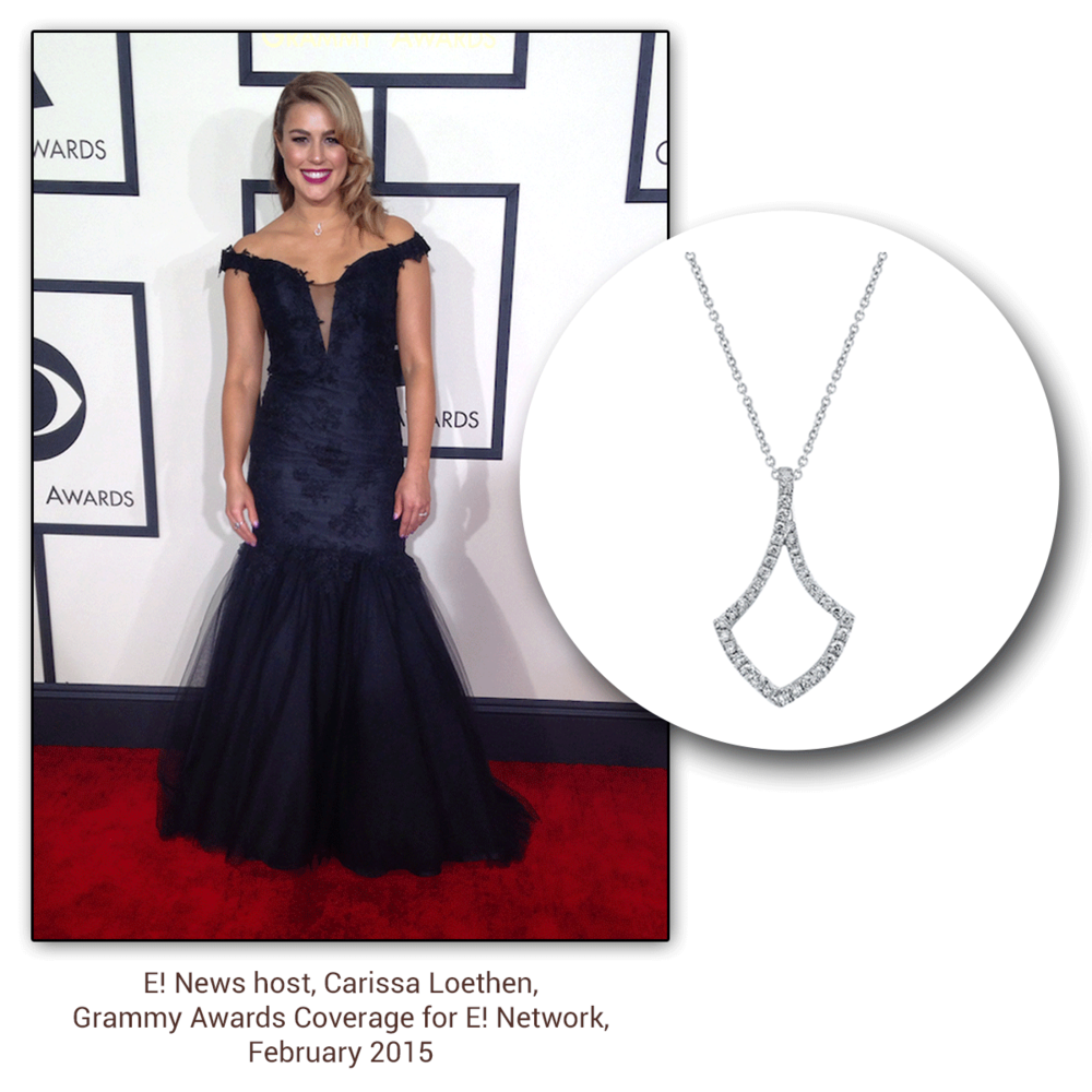 Smiling bright as ever, E! News host, Carissa Loethen, glistens on the red carpet in a Sylvie Collection diamond pendant.