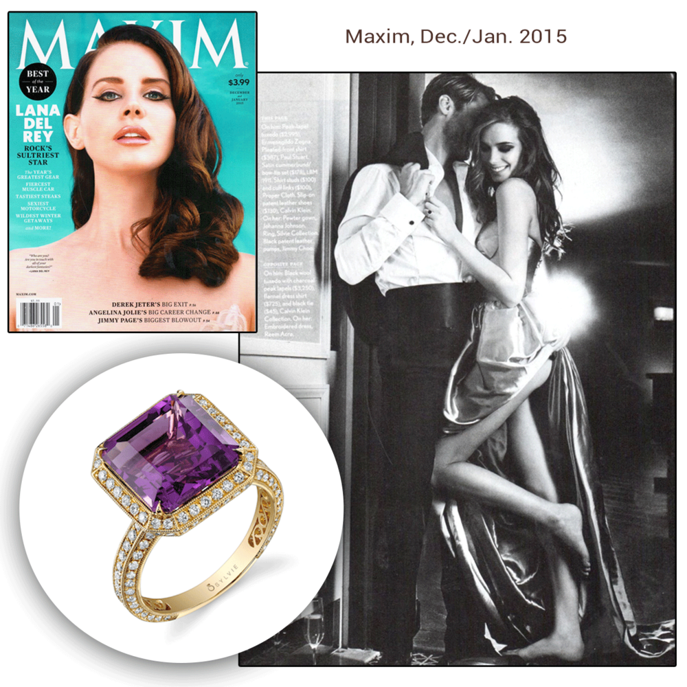 Beautiful from the inside out, Lana Del Rey looks absolutely stunning in this diamond ring set with an amethyst center stone!Thank you MAXIM for featuring Sylvie Collection's beautiful piece.