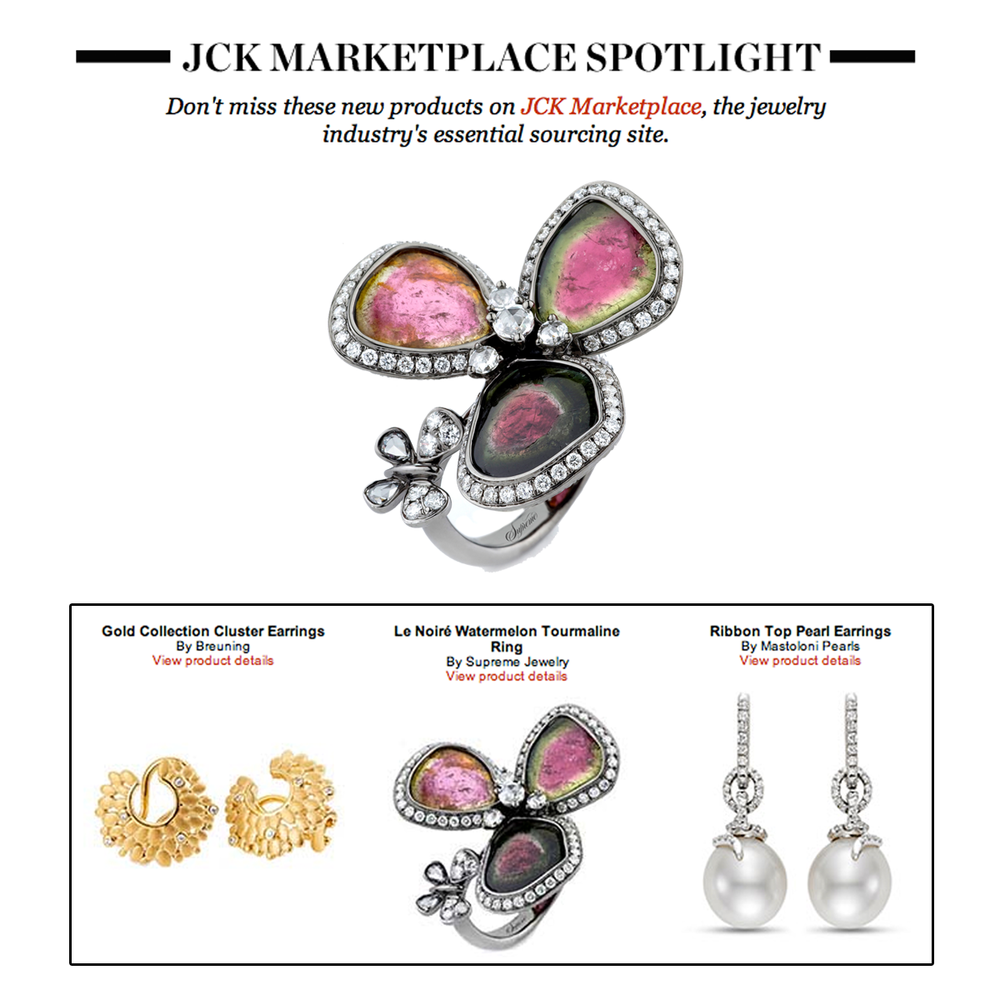 In the spotlight! Thank you JCK Marketplace for featuring Supreme Jewelry's beautiful one-of-a-kind watermelon tourmaline ring.