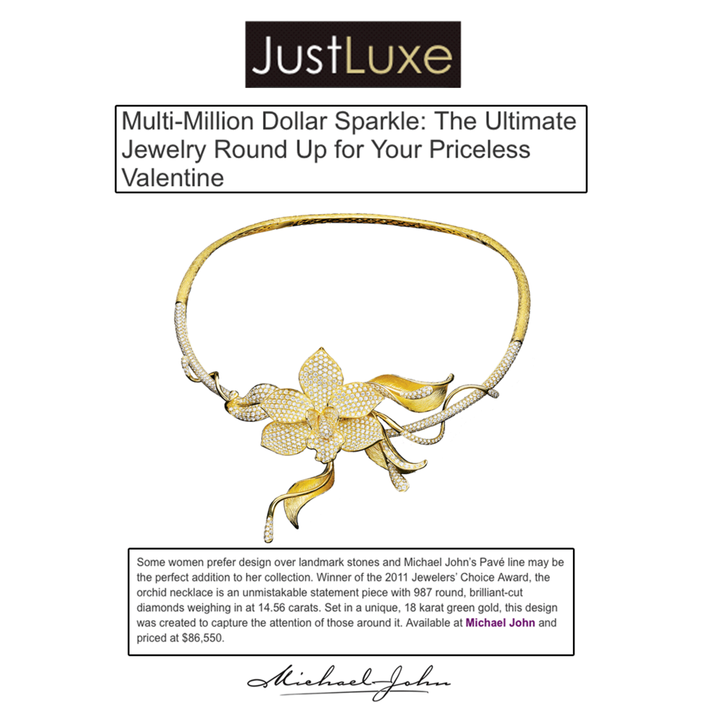Sparkle me pretty! Thank you Just Luxe for featuring Michael John Jewelry'slandmark piece, encircled with diamonds & setto perfection.