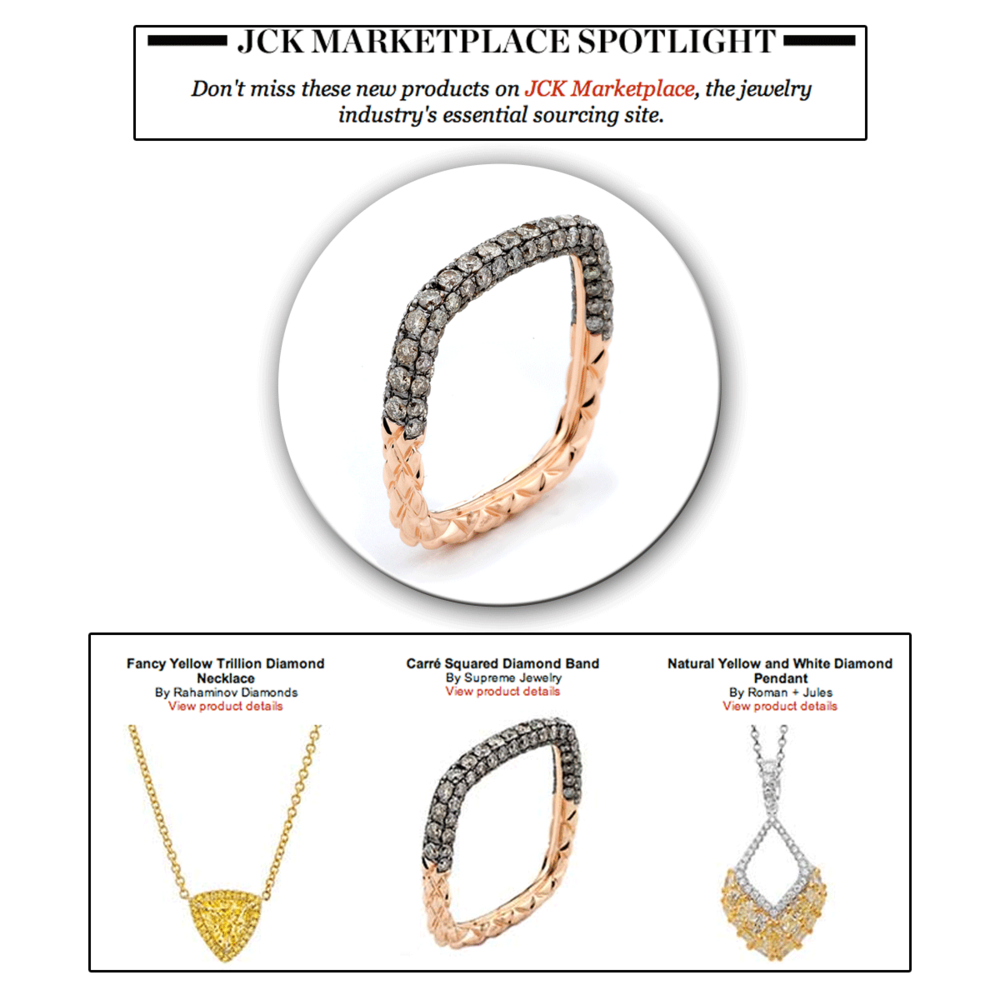 Unique in its craft, this rose gold squared diamond band takes the spotlight! Thank you JCK Marketplace for featuring this gorgeous Supreme Jewelry piece.
