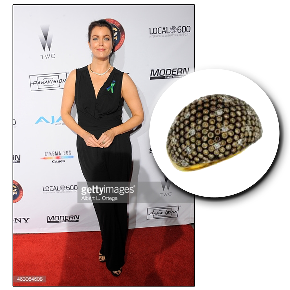 """Bellamy Young, star of hit TV show,""""Scandal,"""" glistens on the red carpet in a Royal Jewelry statement ring."""